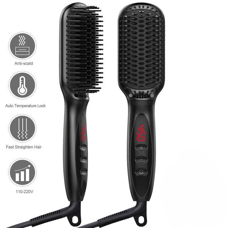 Professional Beard Hair Straightener Comb Durable Electric Straight Hair Comb Brush LCD Heated Ceram