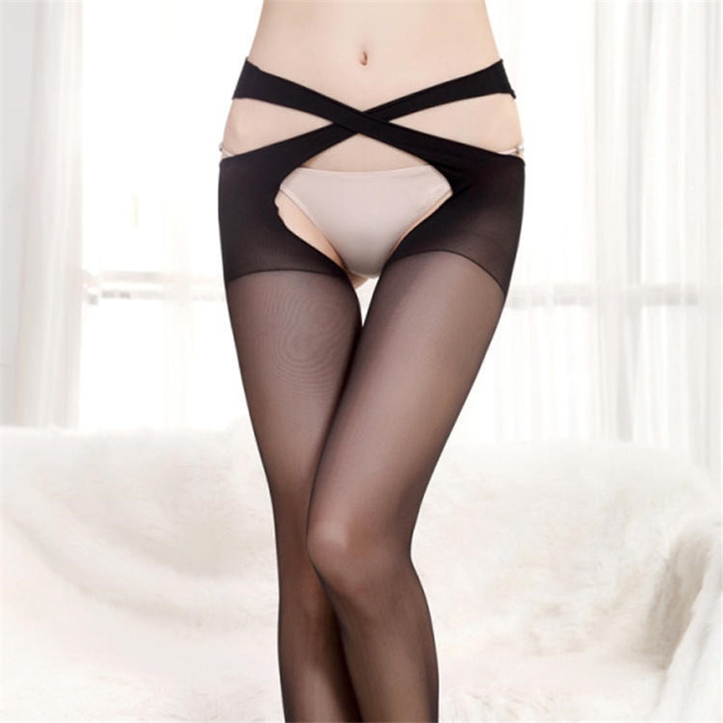 Women Sexy pantyhose Open Crotch Erotic Sexy Stocking Transparent Black Women Crotchless Tights Stre