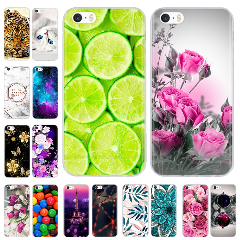 AliExpress - soft tpu case for iPhone 4 4s 5 5s SE 6 6s cute cartoon cat flower fashionable silicone phone case cover full protective coque