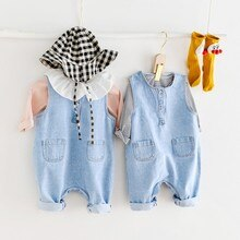 Yg Brand Children's Suit Spring And Autumn New 0-2-year-old Baby Denim Jumpsuit T-shirt Two Piece Ch