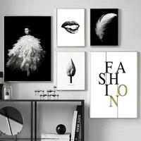 Affiches dart en toile avec levres noires et imprimes pour fille  peinture de plumes  tableau mural en noir et blanc  decoration de maison moderne pour salon
