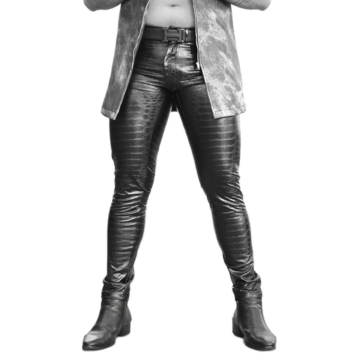 جديد ثلاثية الأبعاد مطبوعة بولي بنطال بنطال جلدي التماسيح الجلد الملمس موضة الشرير قلم رصاص طماق سليم صالح بنطلون تقليد ضيق الدينيم نمط