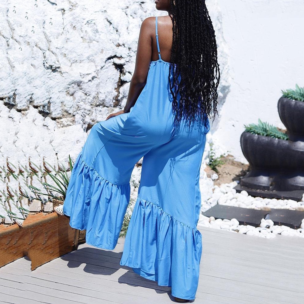 2021 New Loose Jumpsuits For Women Blue Spaghetti Strap Flare Pants Fashion High Street Wear Clothes Long Rompers & Jumpsuits enlarge