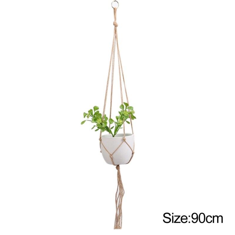 Corda retro macrame planta cabide flor planta pote titular pendurado cesta de corda artesanal fina corda de cânhamo rede planta cordão