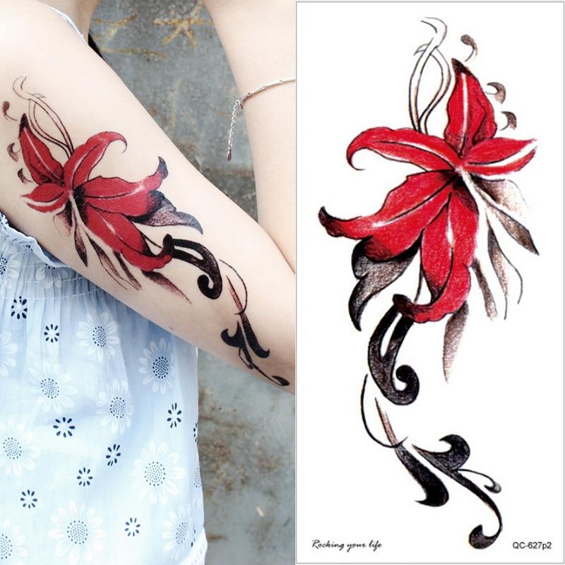 Manga tatuaje de flor loto Rosa tatuaje temporal para mujeres chicas pulsera tatuaje pegatina acuarela impermeable brazo cuerpo