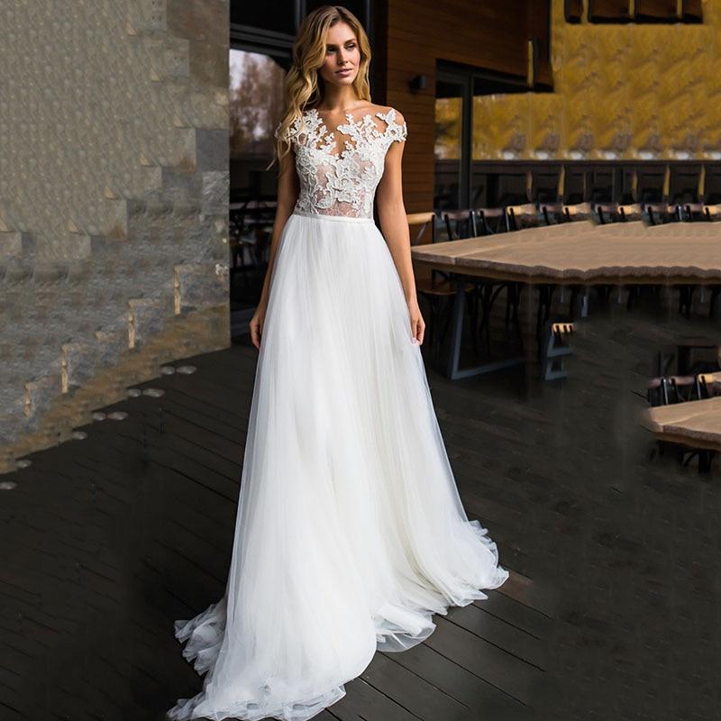 Eightree Cap Sleeve vestido de noiva A-Line Wedding Dresses Sleeveless Applique Bride Dress Robe mairee Gown Backless