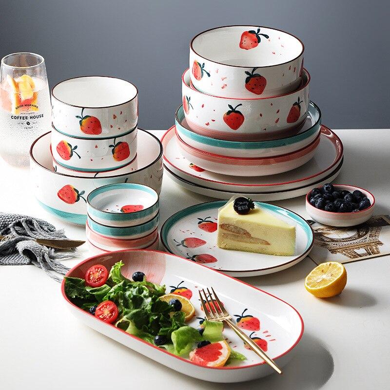 الفراولة أدوات المائدة السيراميك عاء عيدان أطباق أطباق مجموعة المنزل زوجين الأرز عاء لطيف واحدة بسيطة 2 شخص مزيج
