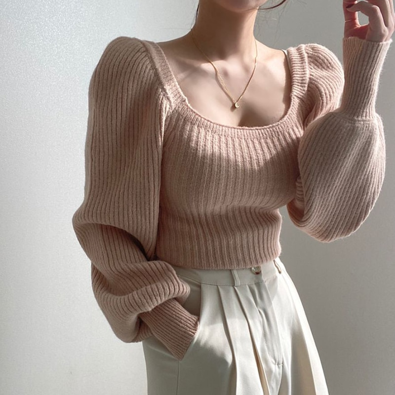 women pullover loose embroidery knitted solid color long sleeve jumper streetwear sweaters tops pullovers female clothes autumn 2021 Square Collar Women Sweaters Knitted Pullover Autumn Winter Solid Long Puff Sleeve Sweater Tops For Female Warm Jumper
