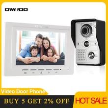 OWSOO 7 inch Wired Video Doorbell video intercom Rainproof Camera Visual Intercom Two-way Audio Remote Unlock Video Door Phone