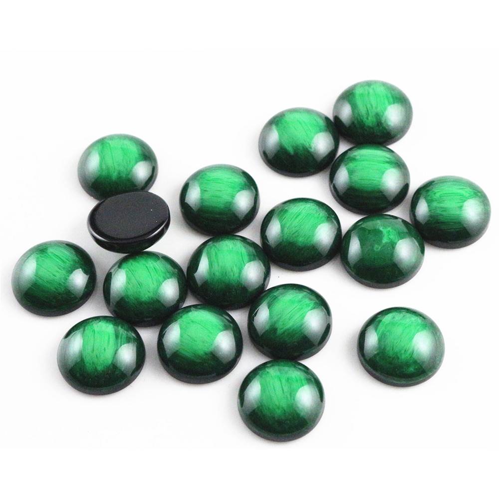 New Fashion 40pcs 12mm Green Colors Stylish Brushed Style Flat back Resin Cabochons Cameo-V5-06