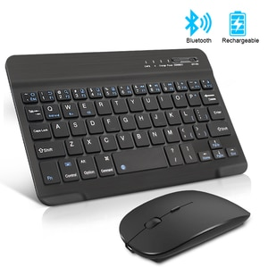 Беспроводная мини-клавиатура и мышь, перезаряжаемая испанская Bluetooth-клавиатура с мышью, Русская клавиатура для ПК, планшета, телефона