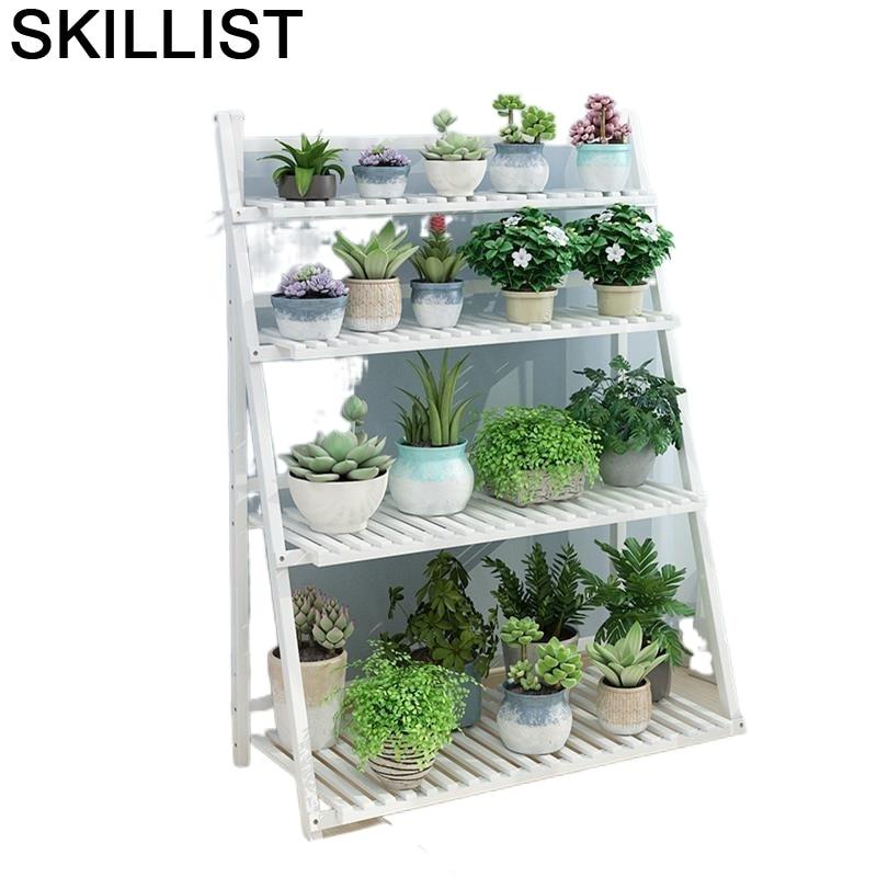 Interior Suporte Flores Ladder Escalera Decorativa Madera For Wood Balcony Outdoor Flower Stand Rack Dekoration Plant Shelf