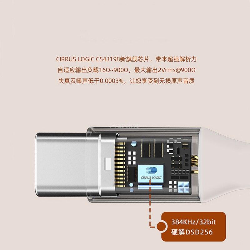 Nvarcher CS43918 Portable Decoding Headphone Amplifier 16-900ohm Type-C To 3.5mm Audio Output 384K 32Bit DSD256 enlarge