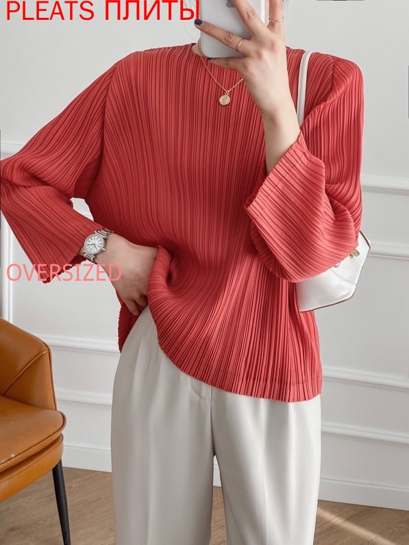 spring-and-summer-new-products-three-quarter-sleeves-womens-miyake-pleated-top-with-buttons-on-the-back-pleats-oversized-t