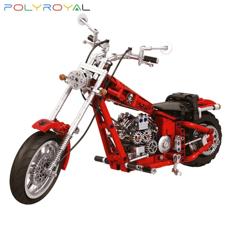 Строительные блоки Polyroyal в стиле ретро мотоцикл, модель 568 шт., Обучающие конструкторы «сделай сам», детские игрушки, подарки на Рождество и д...