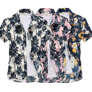 Men Floral Shirt Short Sleeve Button Lapel Collar Male Summer Beach Holiday Casual Blouse S-5XL