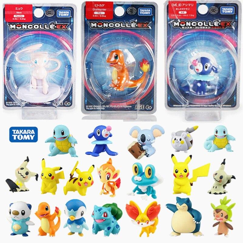 """Takara tomy pokemones figuras anime ação sun & moon pikachued ex squirtle rowlet mewtwo figura de ação 1.5 """"modelo brinquedos"""