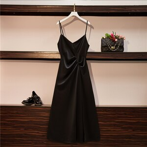 M-4XL Ladies V-Neck Sexy Sling Dress Sleeveless Open Back Solid Color Top Summer New Style Slim Fashion Temperament Long Skirt