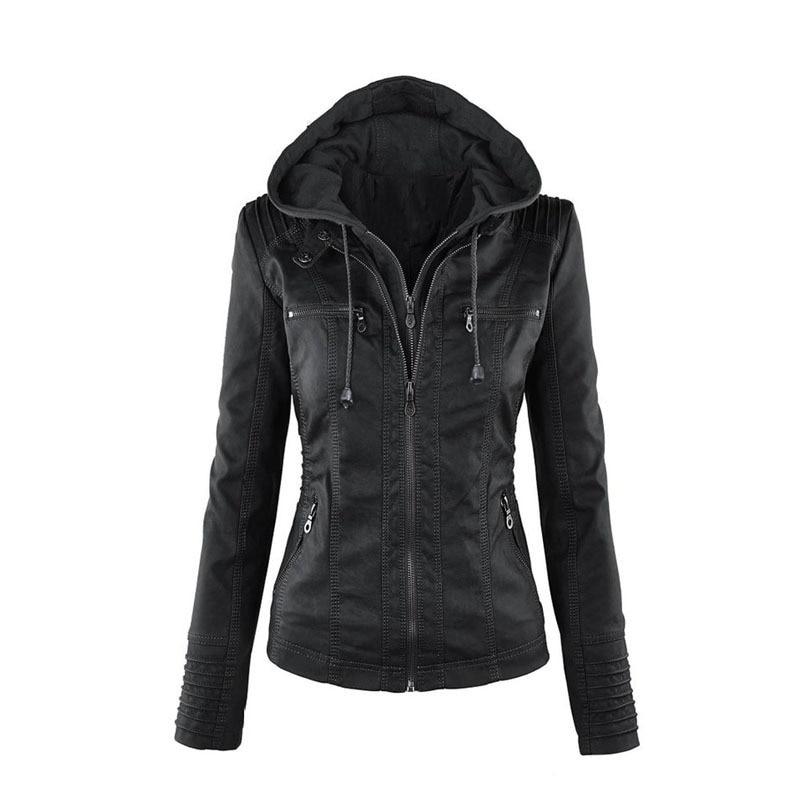 popular long sleeve women's leather jacket PU leather jacket women's short leather coat women's jacket motorcycle wear enlarge