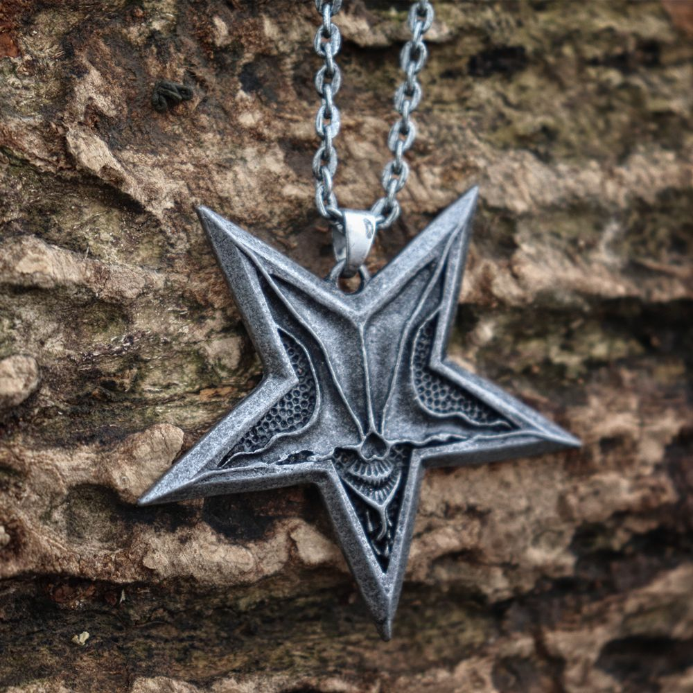 Eyhimd único gótico pentagrama baphomet satã crânio pingente colar punk satanismo jóias