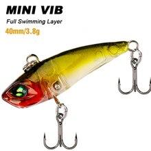 Trulinoya DW28 Mini VIB leurre de pêche 3.8g 40mm leurres durs appâts de pêche promotionnels avec crochets en acier noir