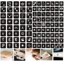 103pcs/set Henna Tattoo Stencil for Women Kids Mermaid Cat Letter Fashion Design Airbrush Stencils for Paiting Glitter Tattoos