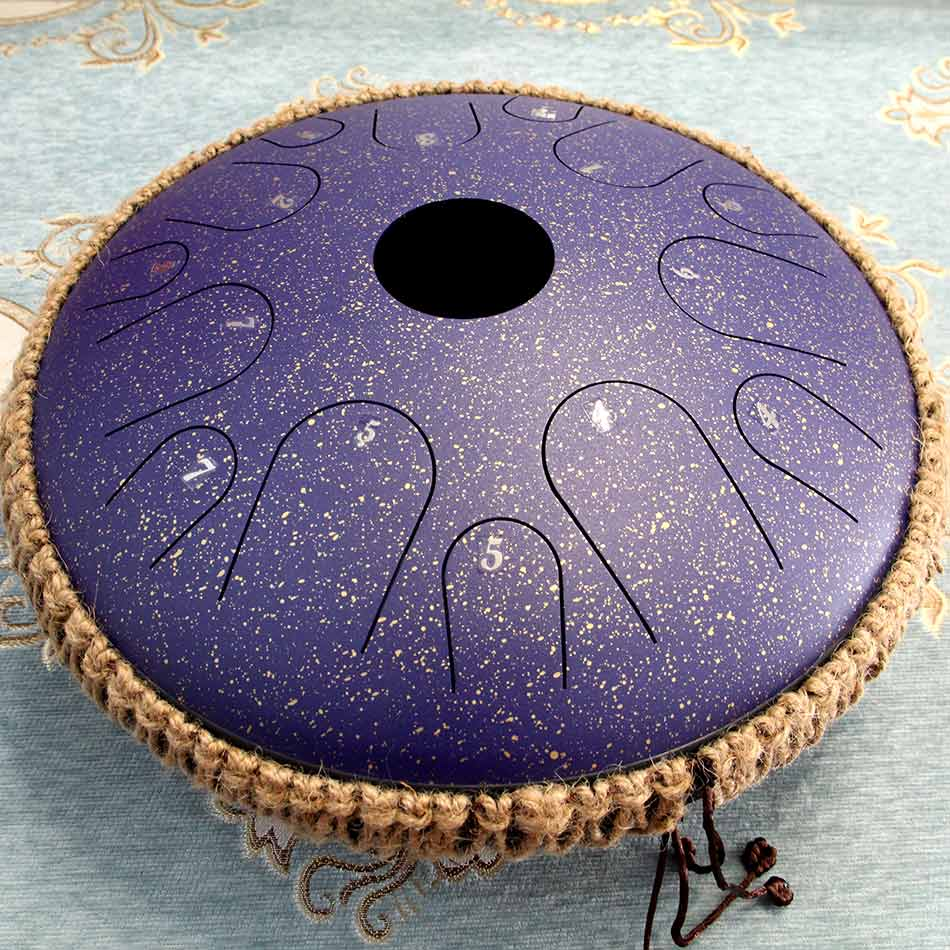 NEW Steel Tongue Drum 14 inch 14 tone Pan Hand Drum with Rope Decoration and Mallets, Sound Healing Instrument enlarge