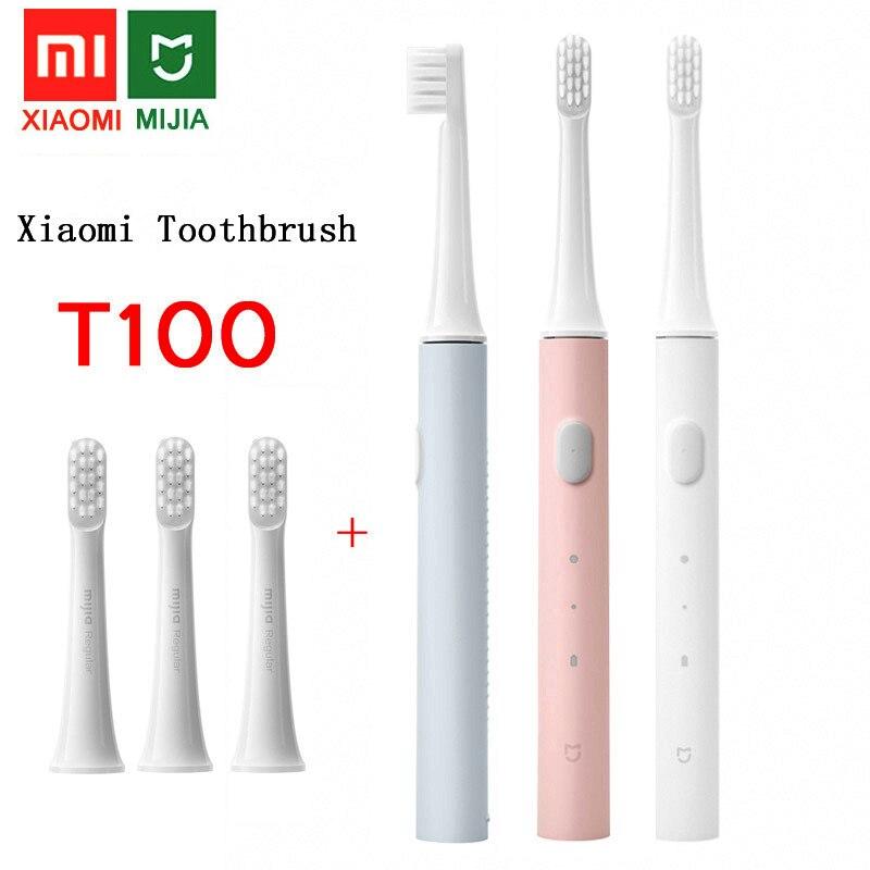 Зубная щетка xiaomi Mijia T100 звуковая электрическая для взрослых, автоматическая ультразвуковая Водонепроницаемая отбеливающая зубная щетка с USB-зарядкой