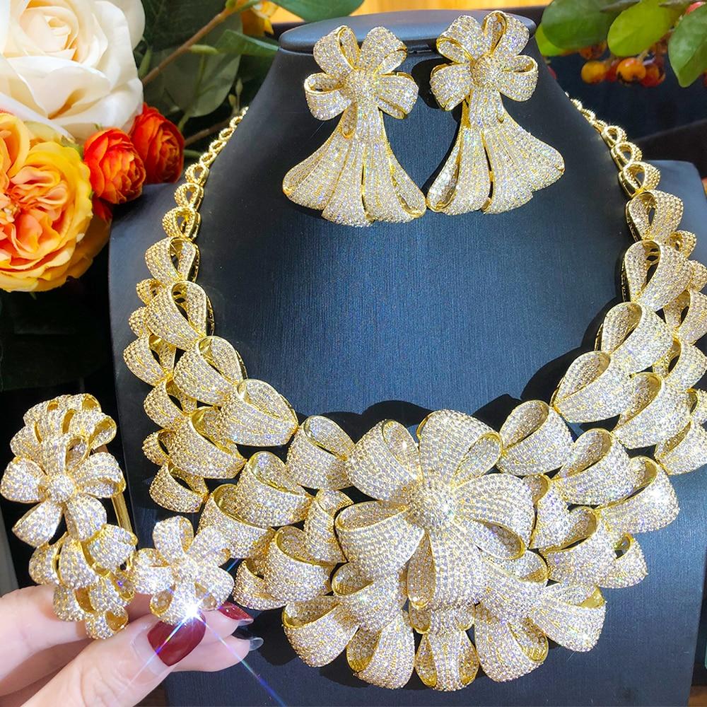 Blachette عالية مخصصة نوبل الفاخرة قلادة قلادة سوار القرط حلقة 4 قطعة العروس الإناث الزفاف مأدبة مجموعات مجوهرات