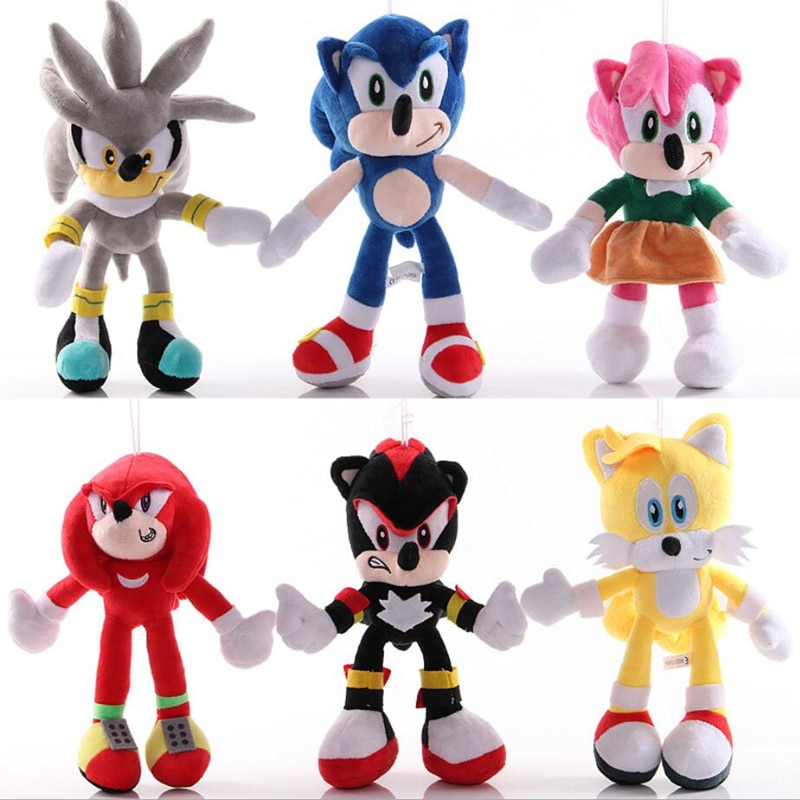 18-30cm Shadow Amy Rose Knuckles Tails Plush Toys Soft Stuffed Peluche Dolls Gift For Kids'