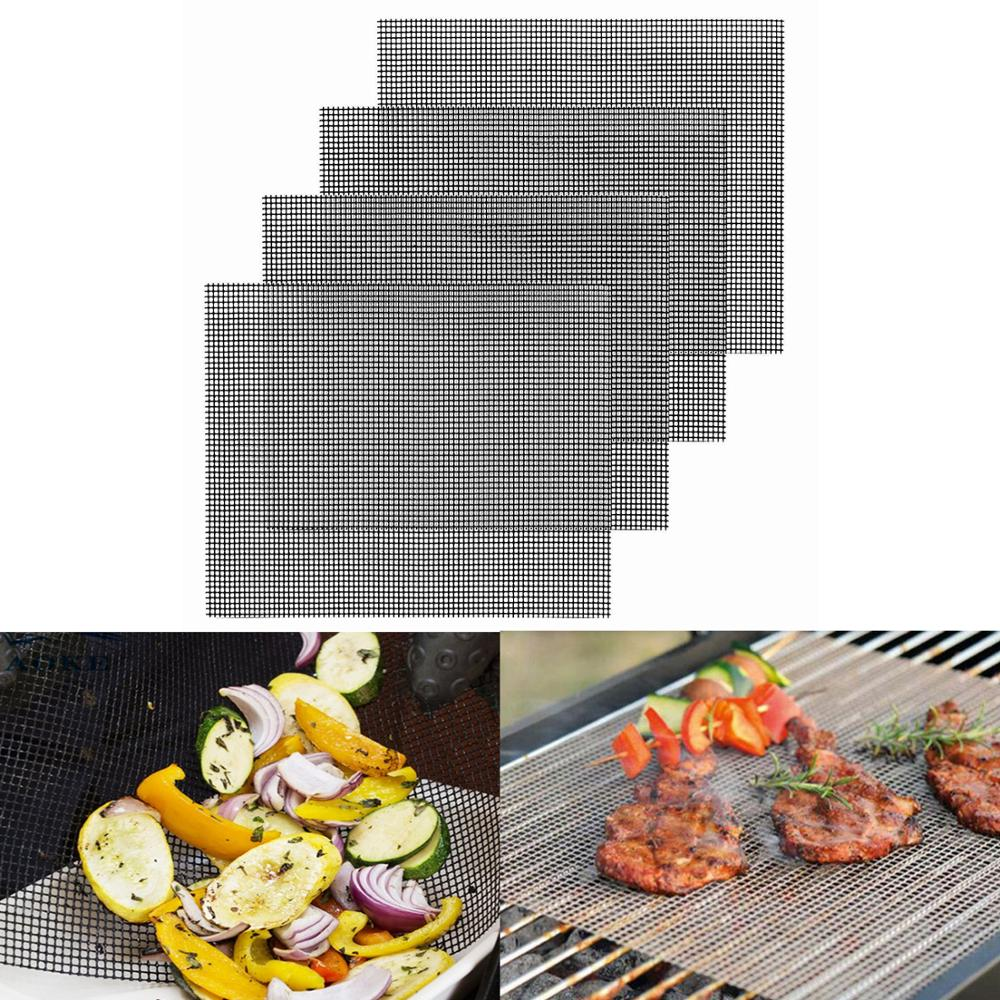 4 Uds barbacoa parrilla alfombra de malla barbacoa al aire libre almohadilla para hornear BBQ parrilla estera cocina al aire libre estera para hornear horno cocinar parrilla hoja Liner