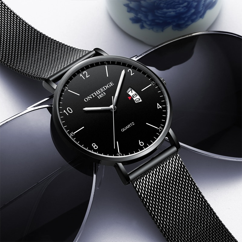 Men Quartz Wrist Watch Luxury Clock Mesh Thin Black Stainless Steel Male Clock Men Wrist Watches Reloj Hombre Relogio Masculino enlarge