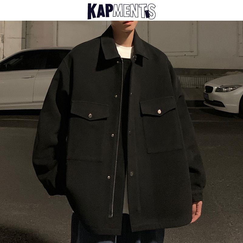 KAPMENTS الرجال Harajuku جيب زر معطف صوف 2021 الشتاء الرجال الكورية الموضات الأسود خندق معطف زوجين سترات عادية خمر