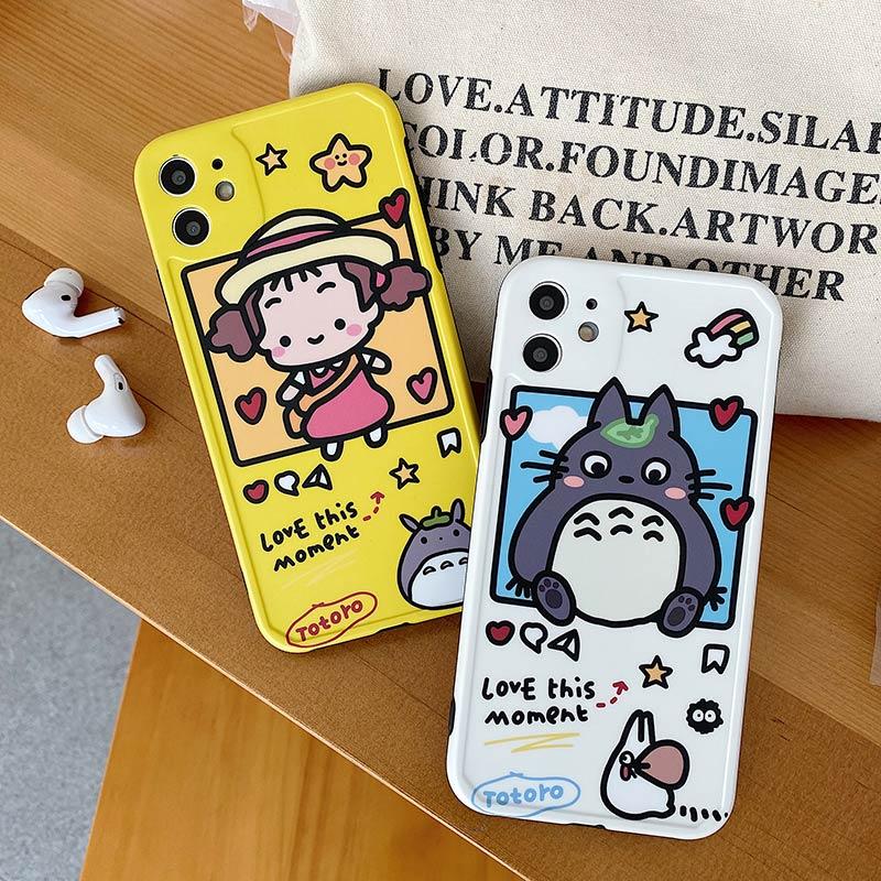 Японский мультяшный милый кот Тоторо желтый чехол для телефона iPhone 11 Pro MaX XR XS Max X 8 7 маленькая девочка мягкий чехол белый