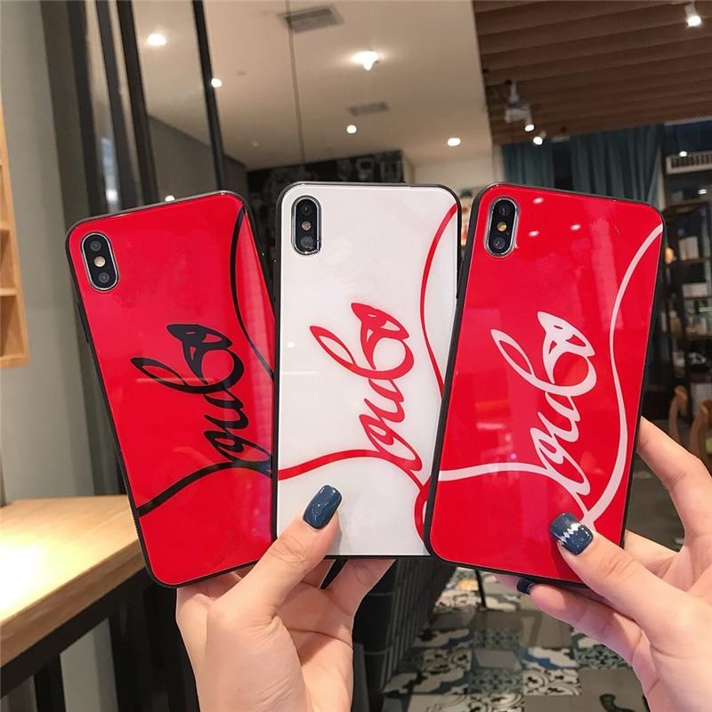 Lujosa funda de teléfono de cristal rojo a la moda para iPhone 11 Pro X XR XS Max 8 7 6s 6 plus 8Plus, carcasa trasera de vidrio templado para teléfono