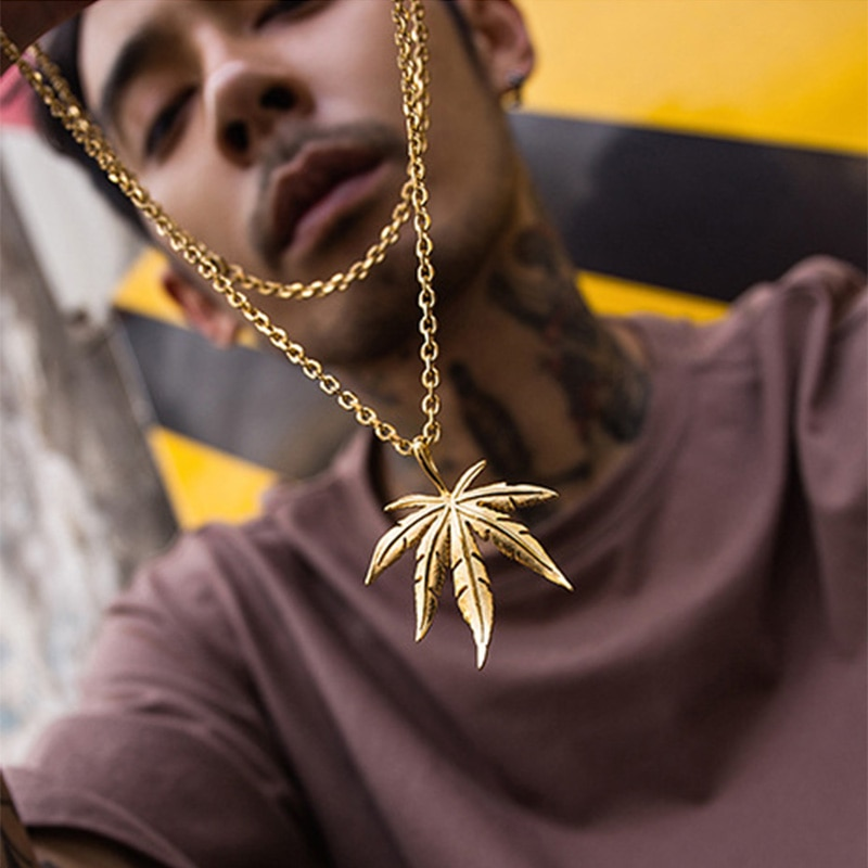 hiphop Hemp leaf golden leaves Vintage Choker play boy necklace  men necklace boho necklace pendant necklace cuban link