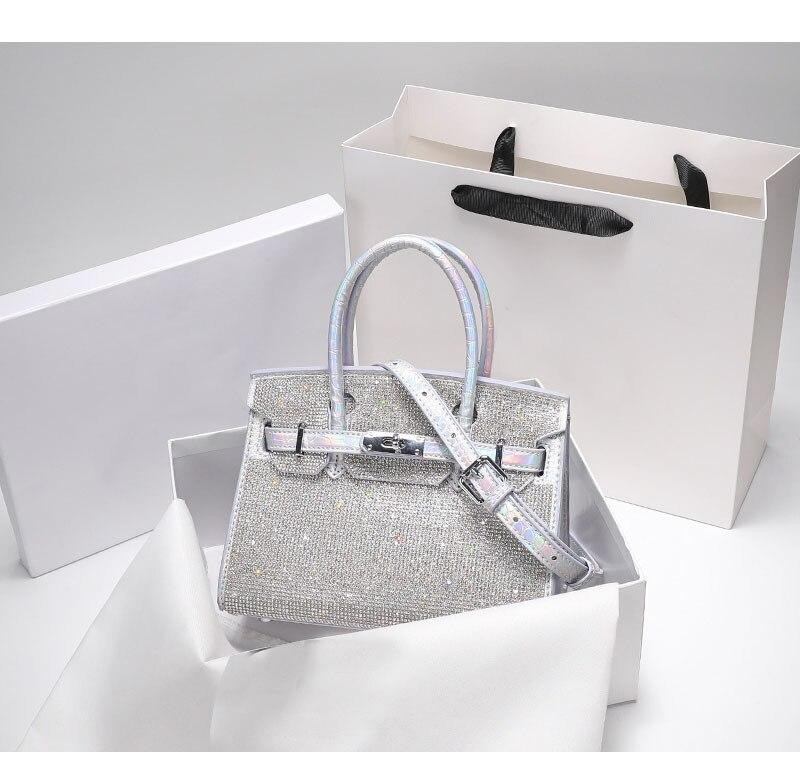 فاخر مصمم فلاش الماس حجر الراين البلاتين حقيبة المرأة 2021 جديد عصري الماس حقيبة الكتف حقيبة ساعي ومحفظة