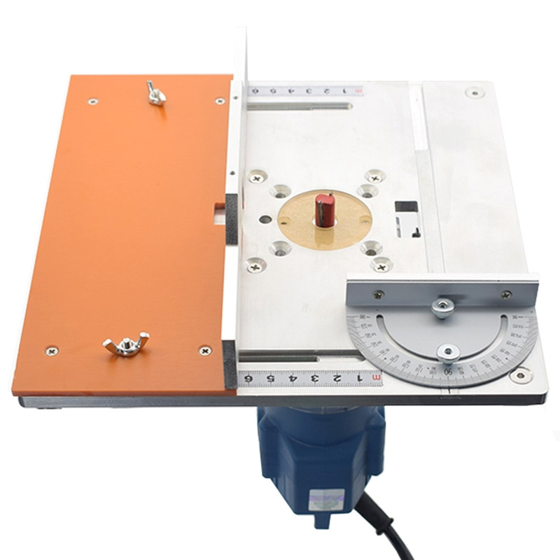 Aluminium Router Table Insert Plate Electric wood milling flip board with Miter Gauge Guide table saw Woodworking workbench