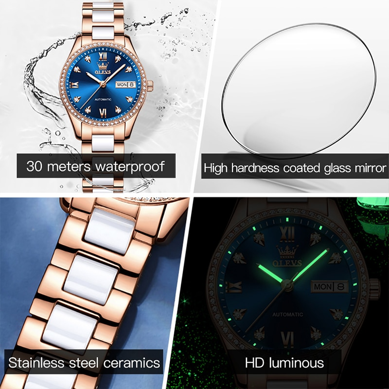 OLEVS New Fashion Women Casual Fully Automatic Mechanical Diamond Display Luminous Hands Waterproof Ceramic Strap Watches 6637 enlarge