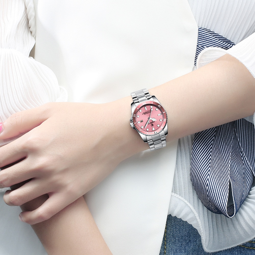CHENXI Brand Women Watch Minimalism Pink Silver Stainless Steel Watch Female Calendar Waterproof Business Quartz Wristwatch enlarge