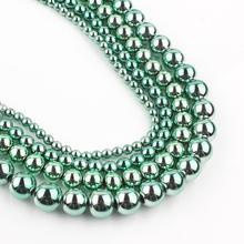 Plat Green hematyt koraliki naturalny gładki luźna biżuteria Spacer koraliki do tworzenia biżuterii DIY bransoletka 15 Cal 3/4/6/8/10mm