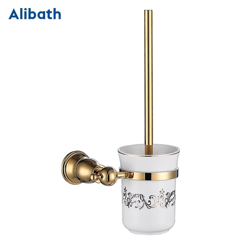 حامل فرشاة المرحاض المستديرة نحى الذهب الانتهاء الحمام تنظيف حامل الصلبة النحاس حامل المرحاض مع كأس الزجاج.