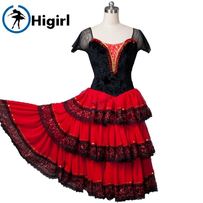 free shipping spanish ballet dresses red romantic ballet tutu dresses cake ballet dress ballet performance tutu dressesBT8994
