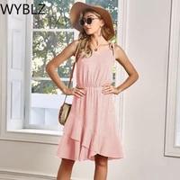 wyblz 2021 summer women dress sexy spaghetti strap pink midi dresses club party casual beach vacation clothing sundress vestidos