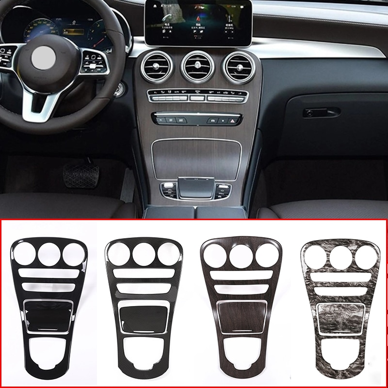 car styling interior buttons panel decoration cover trim sticker frame for mercedes benz c class w204 2011 2014 auto accessories Car Central Control Gear Shift Panel Covers Frame Interior Trim Sticker For Mercedes Benz C GLC Class W205 X235 Auto Accessories