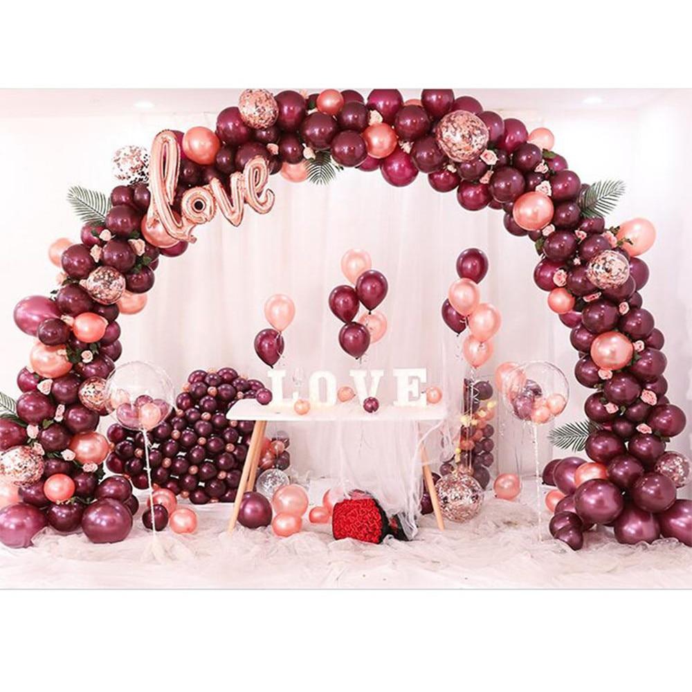 112pcs/Set Rose Gold Burgundy Balloon Garland Arch Kit Confetti Ball Birthday Wedding Valentine's Day Anniversary Party Decor