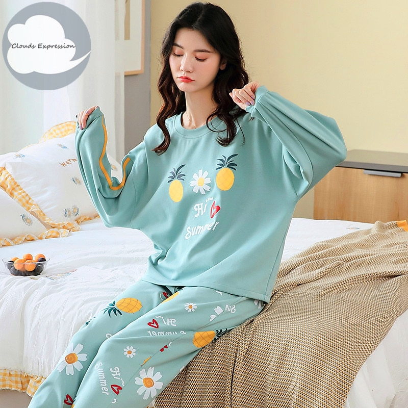 Spring Autumn Women's Sleep Lounge Pajama Long Sleeved Woman Pajama Set Cartoon Pyjamas Cotton Sleep