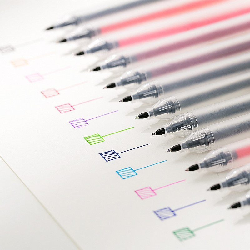 12 pcs 0.5mm Gel Pen Set Colorful Ink Art Maker Pens School Office Supplies Muji Style 12 Colors Papelaria Material Escolar