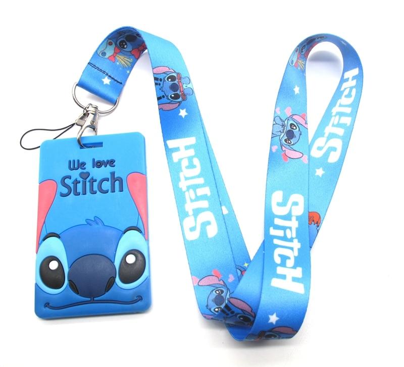 Hot 1 pcs cartoon Stitch card Lanyard Key Lanyard Cosplay Badge ID Cards Holders Neck Straps Keyrchains