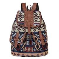 vintage print canvas ethnic backpack for women girls school backpacks drawstring bohemia travel rucksack women backpack purse